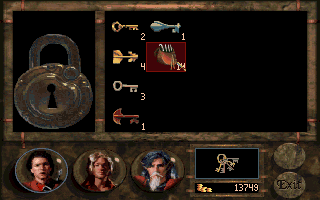 Betrayal at Krondor DOS The standard security device for many chests and buildings requires the skills of a good thief with nice bunch of lockpicks. Unless, you have the right key.