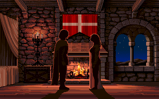 Defender of the Crown Amiga The love scene after you rescue a Saxon Maiden.