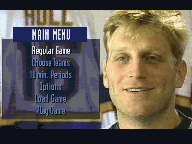 Brett Hull Hockey 95 DOS Main menu