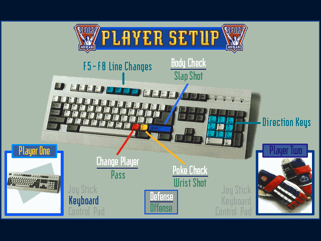 Brett Hull Hockey 95 DOS Player setup screen