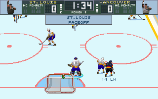 Brett Hull Hockey 95 DOS Faceoff in St. Louis defence zone