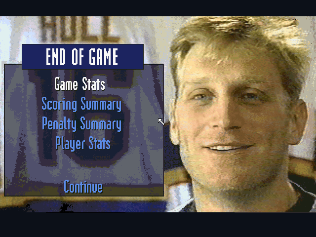 Brett Hull Hockey 95 DOS End of Game menu
