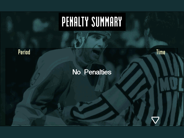 Brett Hull Hockey 95 DOS Penalty summary screen