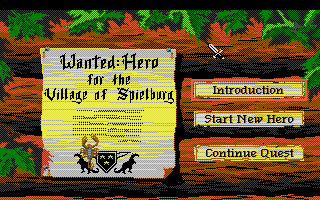Hero's Quest: So You Want To Be A Hero Atari ST Start menu