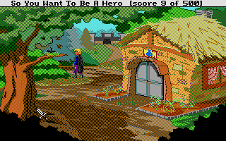 Hero's Quest: So You Want To Be A Hero Atari ST The healer's hut to the right, the castle ahead!