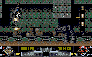 Dalek Attack Atari ST Shooting at the first bosses, some fire-breathing snakes.