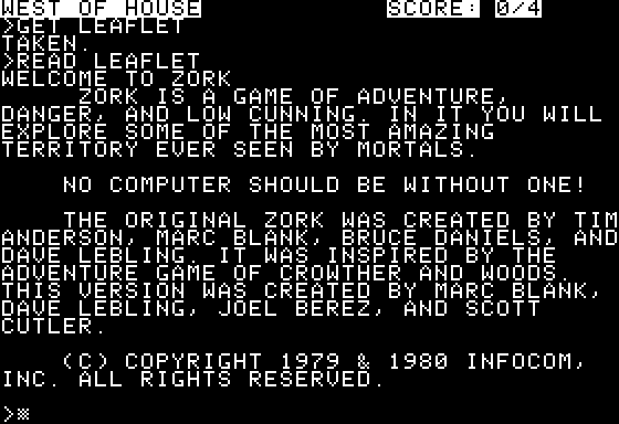 Zork: The Great Underground Empire Apple II A curious introduction