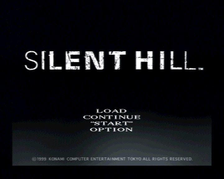 Silent Hill PlayStation Main menu and main title.