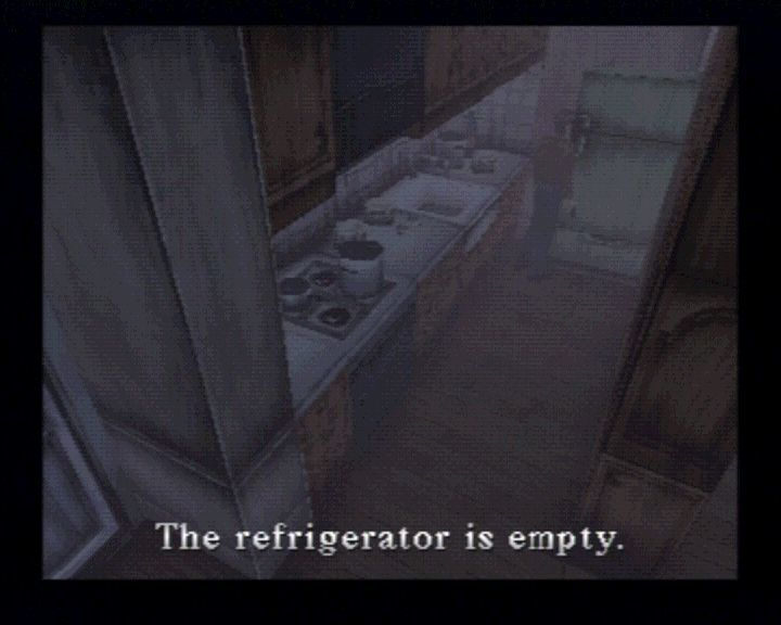 Silent Hill PlayStation Not that you're being hungry, but maybe there would be some shotgun bullets in that fridge.