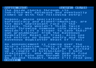 The Hitchhiker's Guide to the Galaxy Atari 8-bit Using the Guide to research Vogons