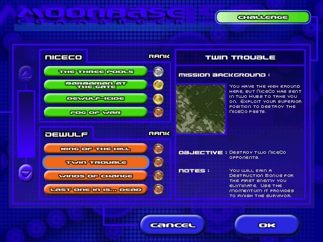 "Moonbase Commander Windows The single player ""challenge"" mode is a set of 16 increasingly difficult levels to help refine your game skills."