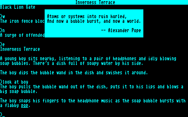 Trinity Commodore 128 Floating quotes give the game a literary flavour