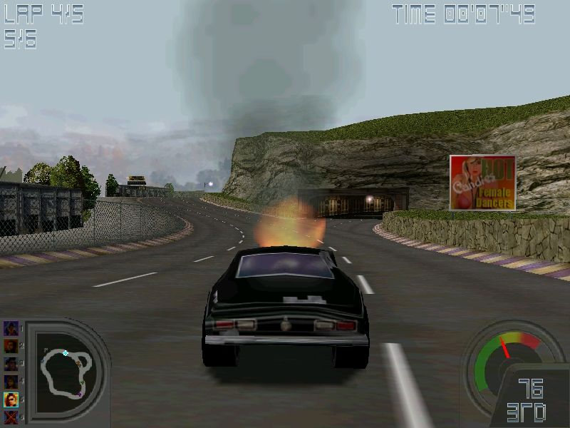 Road Wars Windows Once your engine is on fire, you'll have a hard time finishing the race.