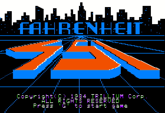 Fahrenheit 451 Apple II Title screen