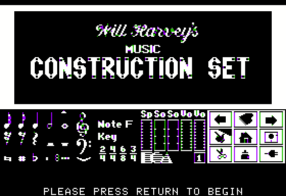 Will Harvey's Music Construction Set Apple II Title screen