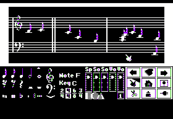 "Will Harvey's Music Construction Set Apple II What do you think of my magnum opus? I call it, ""Random Clicking on the Screen"".  It's the second movement."