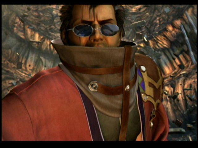 Final Fantasy X PlayStation 2 Auron with a hint of Sin in the background