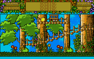 Treasure Island Dizzy Atari ST Caught by a jungle village trap!  Looks like the natives will be eating omelettes tonight!