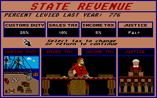 Santa Paravia and Fiumaccio Atari ST Adjusting the taxes