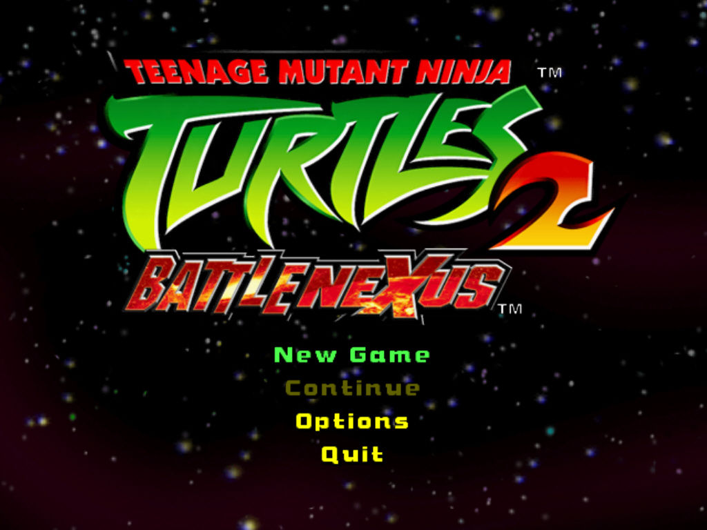 Teenage Mutant Ninja Turtles 2: Battle Nexus Windows Main menu
