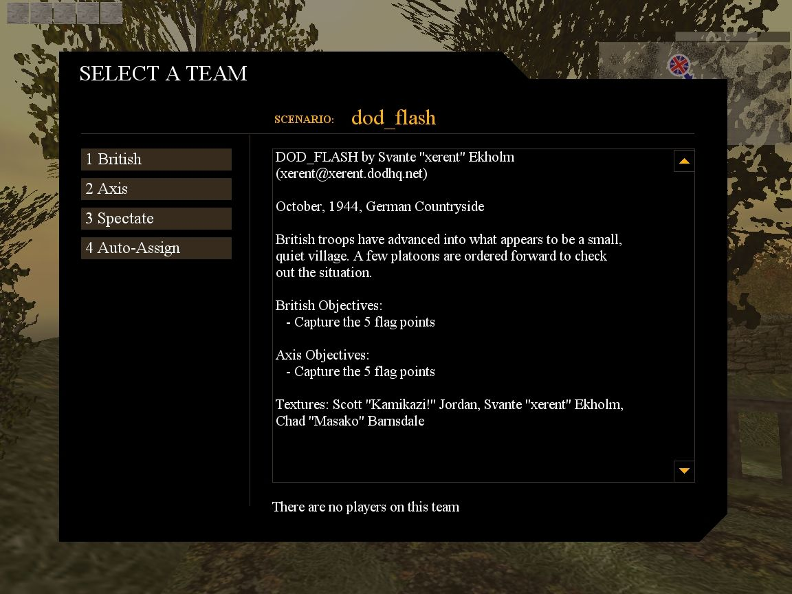 Day of Defeat Windows Team selection screen