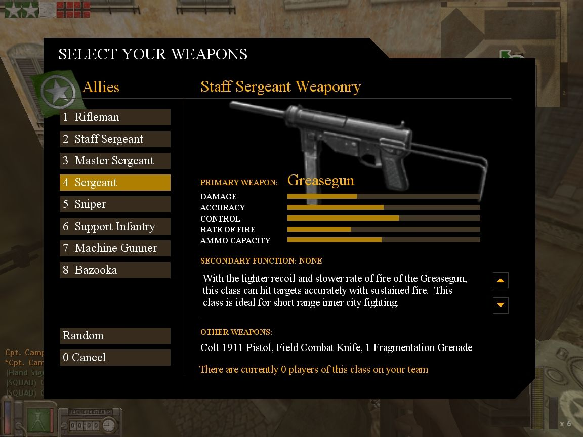 Day of Defeat Windows Allies weapon selection screen