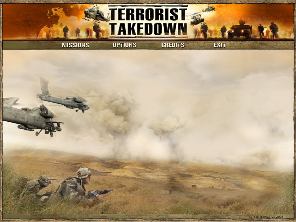 Terrorist Takedown Windows Main menu.