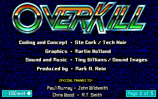 OverKill DOS Credits screen