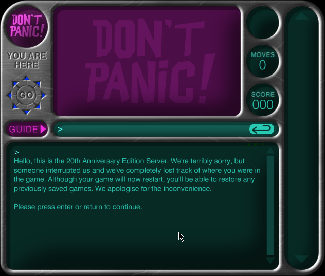 The Hitchhiker's Guide to the Galaxy Browser Cookie-saved game not loaded