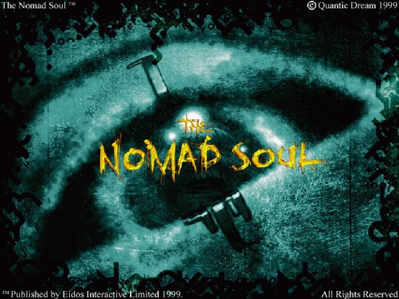 "Omikron: The Nomad Soul Windows Title screen. Note that the title of the UK version is just ""The Nomad Soul"", without ""Omikron"""