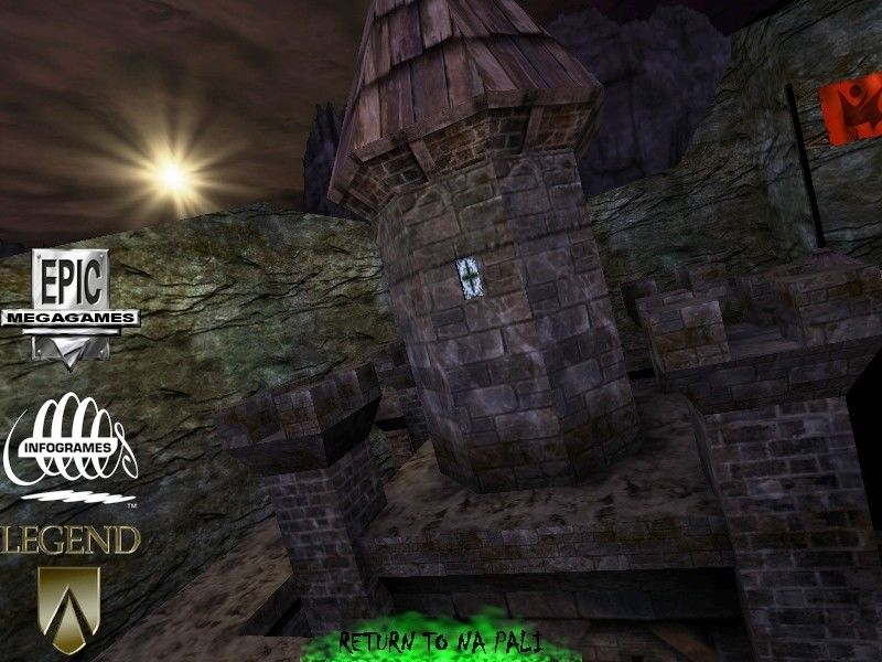 Unreal Mission Pack 1: Return to Na Pali Windows Na Pali opens with a flythrough graphic of a new Nali castle.