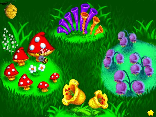 in musical meadow the player moves a bee shaped cursor among the flowers to turn the music on and off