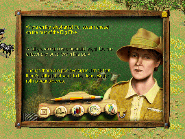 SimSafari Windows Selecting the ecologist icon from the right, the player will hear all sorts of faintly eccentric advice