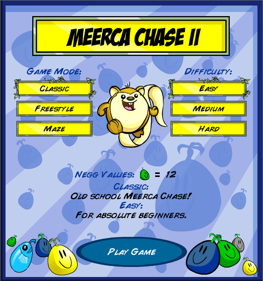 Meerca Chase II Browser Menu screen