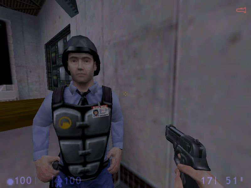 Half-Life: Blue Shift Windows ... and after.  Note the new look for the Barney and your pistol.