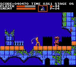 Castlevania NES Falling down the hole behind me means instant death.