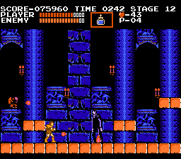Castlevania NES Frankenstein's monster and Igor: Using the holy water to create a fire under the monsters' feet.