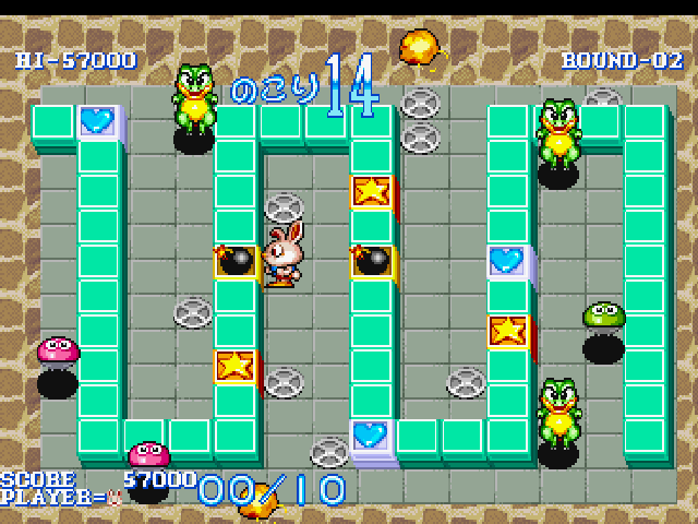 Wonder 3 PlayStation Round 2, push bomb blocks to stun enemies