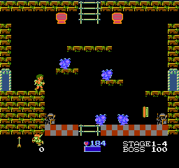 Kid Icarus NES Every fourth level is a fortress. They are confusing labyrinths, and a boss monster is waiting for you in the last room.