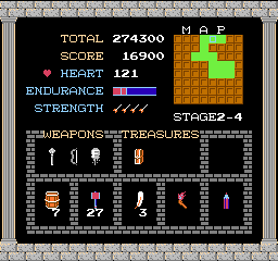 Kid Icarus NES My items, score, and other stuff. You can also see the map here, if you are in a fortress. You have to find the map first though.