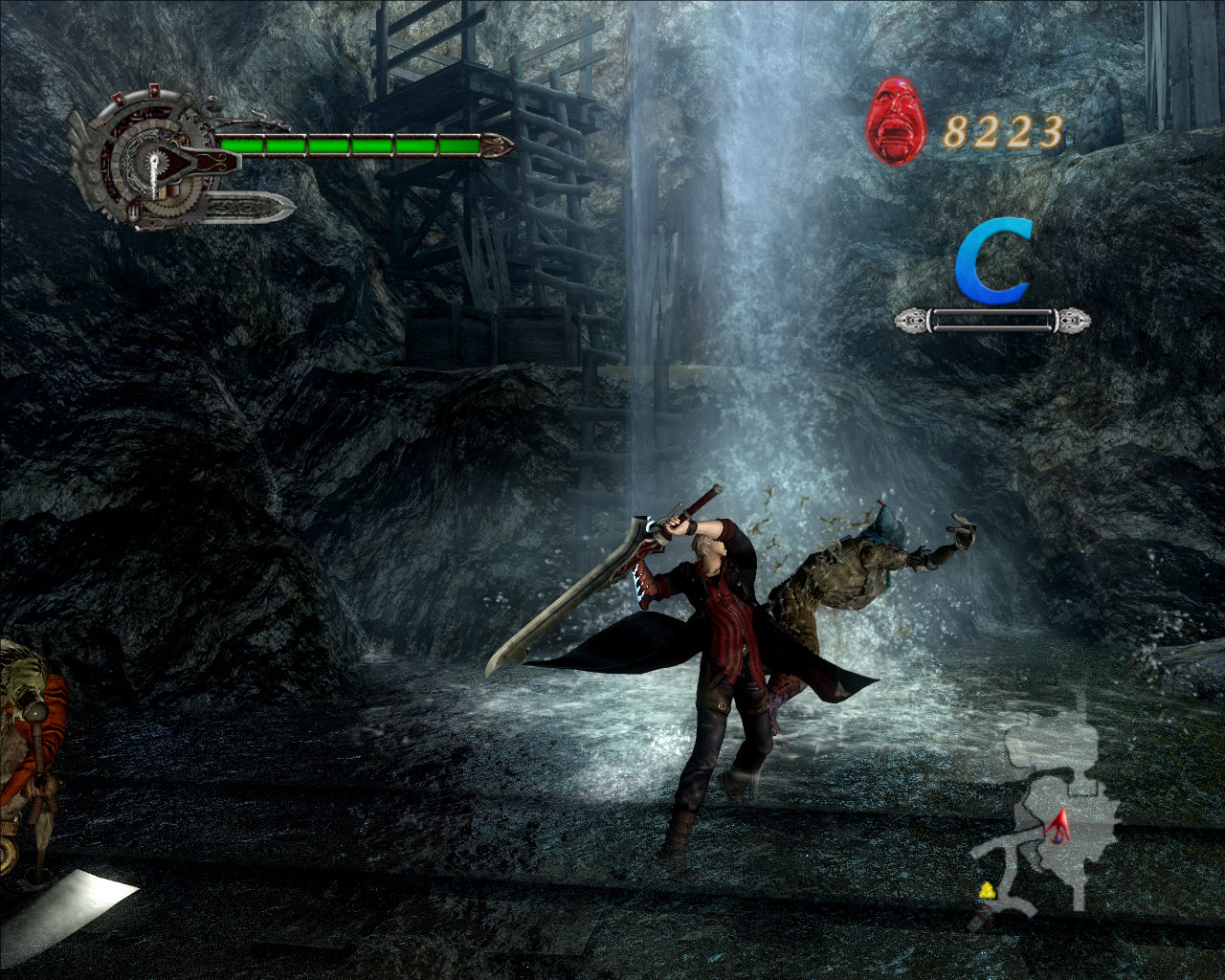 Devil May Cry 4 Windows Fighting in a mine.