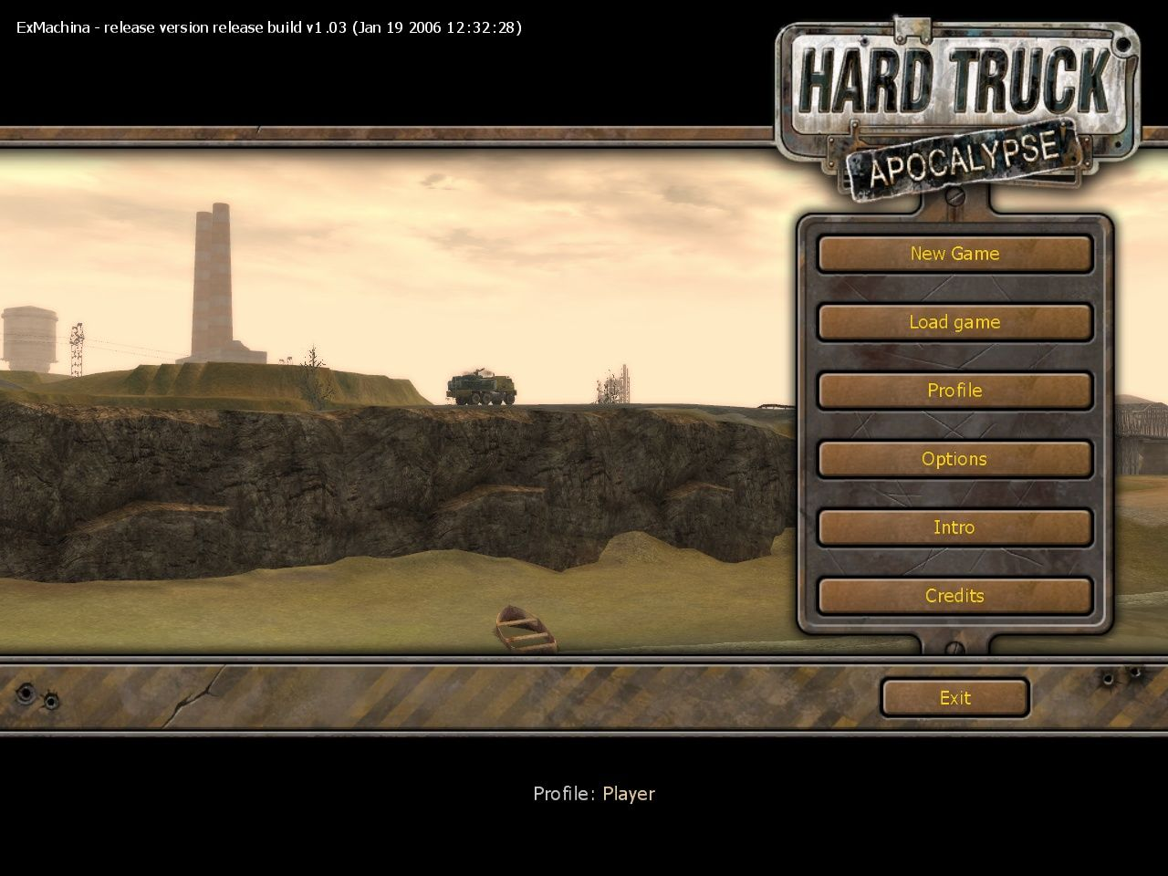 Hard Truck: Apocalypse Windows Opening menu