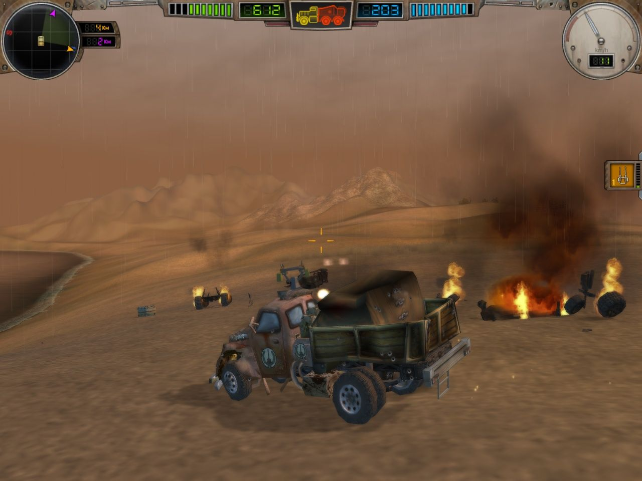 Hard Truck: Apocalypse Windows Combat #3: The result of the fighting. My truck is pretty banged up, but look at the other guys! Now I can loot their wreckage