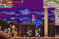 Castlevania: Harmony of Dissonance Game Boy Advance A large knight is throwing stones.