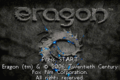 Eragon Game Boy Advance Title screen