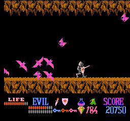Wizards & Warriors NES Chased by vicious bats!