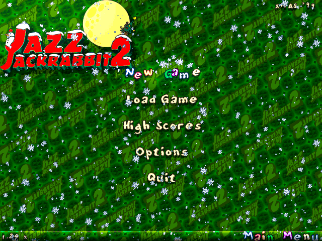 Jazz Jackrabbit 2: Holiday Hare 98 Windows Main menu (The Christmas Chronicles edition, finally English!)