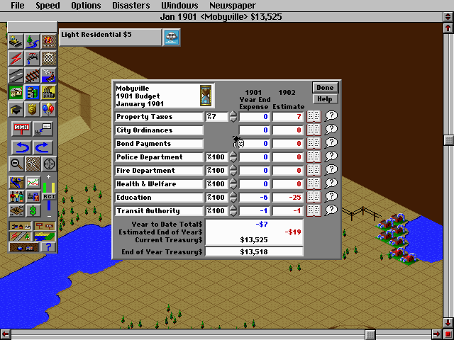 SimCity 2000 DOS End-of-year report