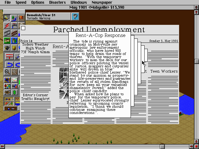 SimCity 2000 DOS Reading a newspaper