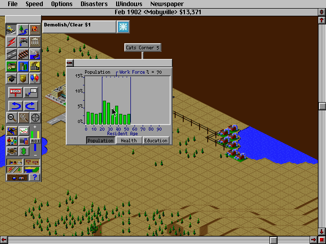 SimCity 2000 DOS Population graph